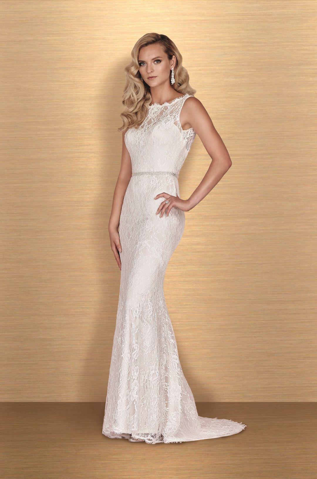 Bateau neckline wedding dress style paloma blanca gowns at