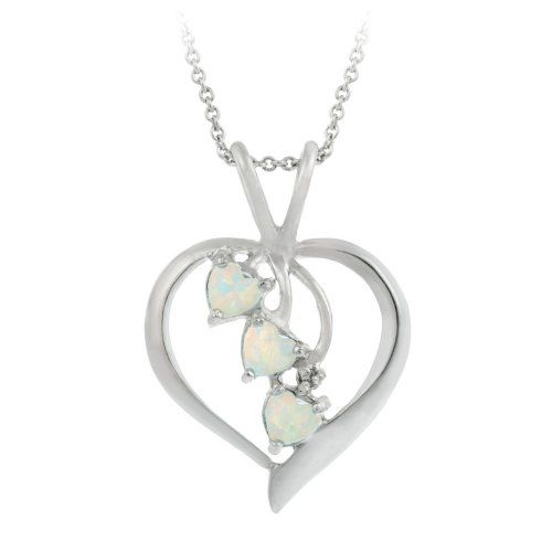 Sterling silver diamond accent heart pendant necklace with three sterling silver diamond accent heart pendant necklace with three created opal heart drops and aloadofball Image collections