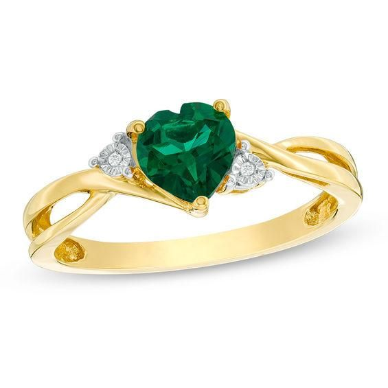 Zales 6.0mm Lab-Created Emerald and Diamond Accent Engagement Ring in 10K White Gold Y0fv8ncal