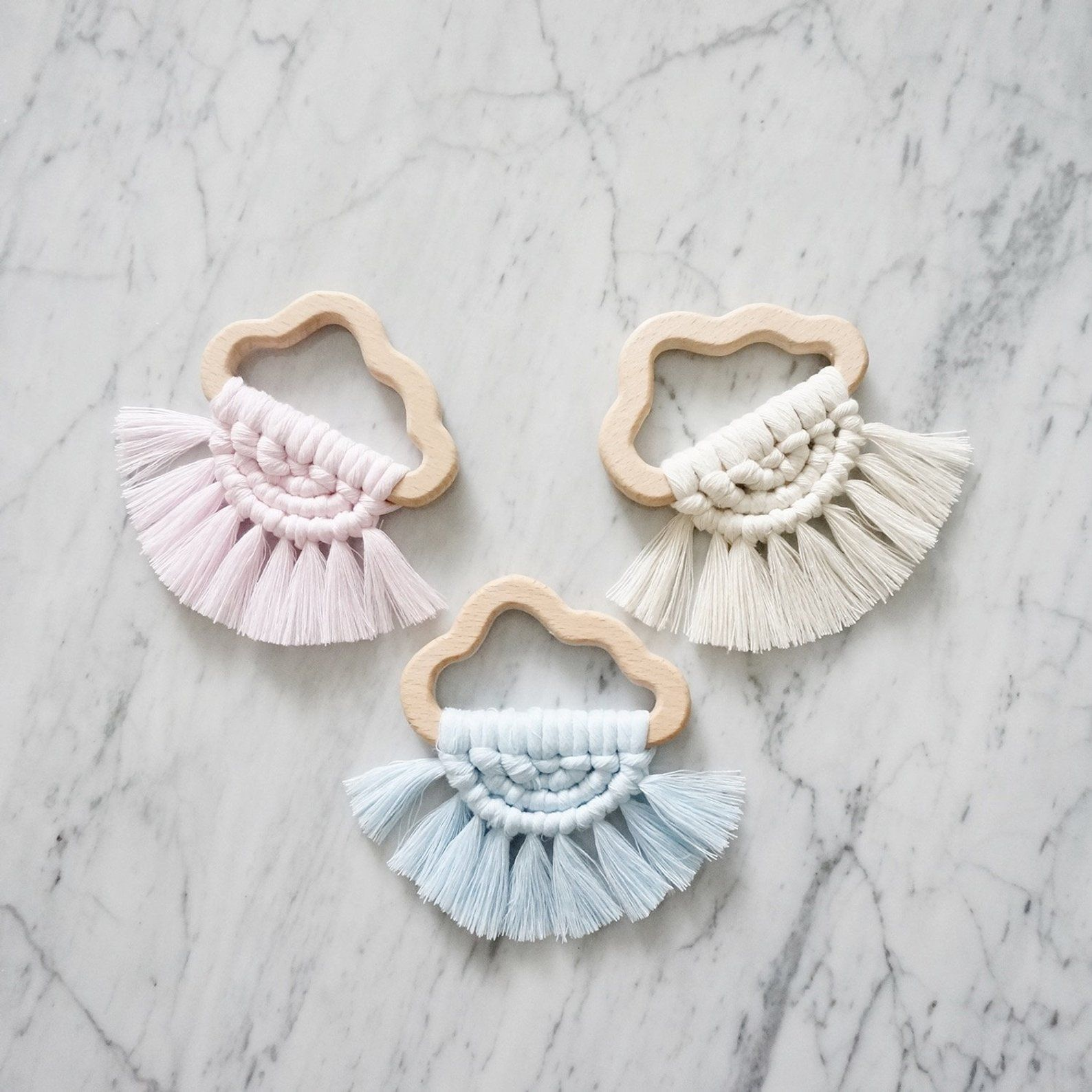 Macramé Wooden Teether | Macrame Baby Teether | Wooden Cloud Teether | Baby Toy | Baby Shower Gifts | Modern Macrame | Baby Teething Ring