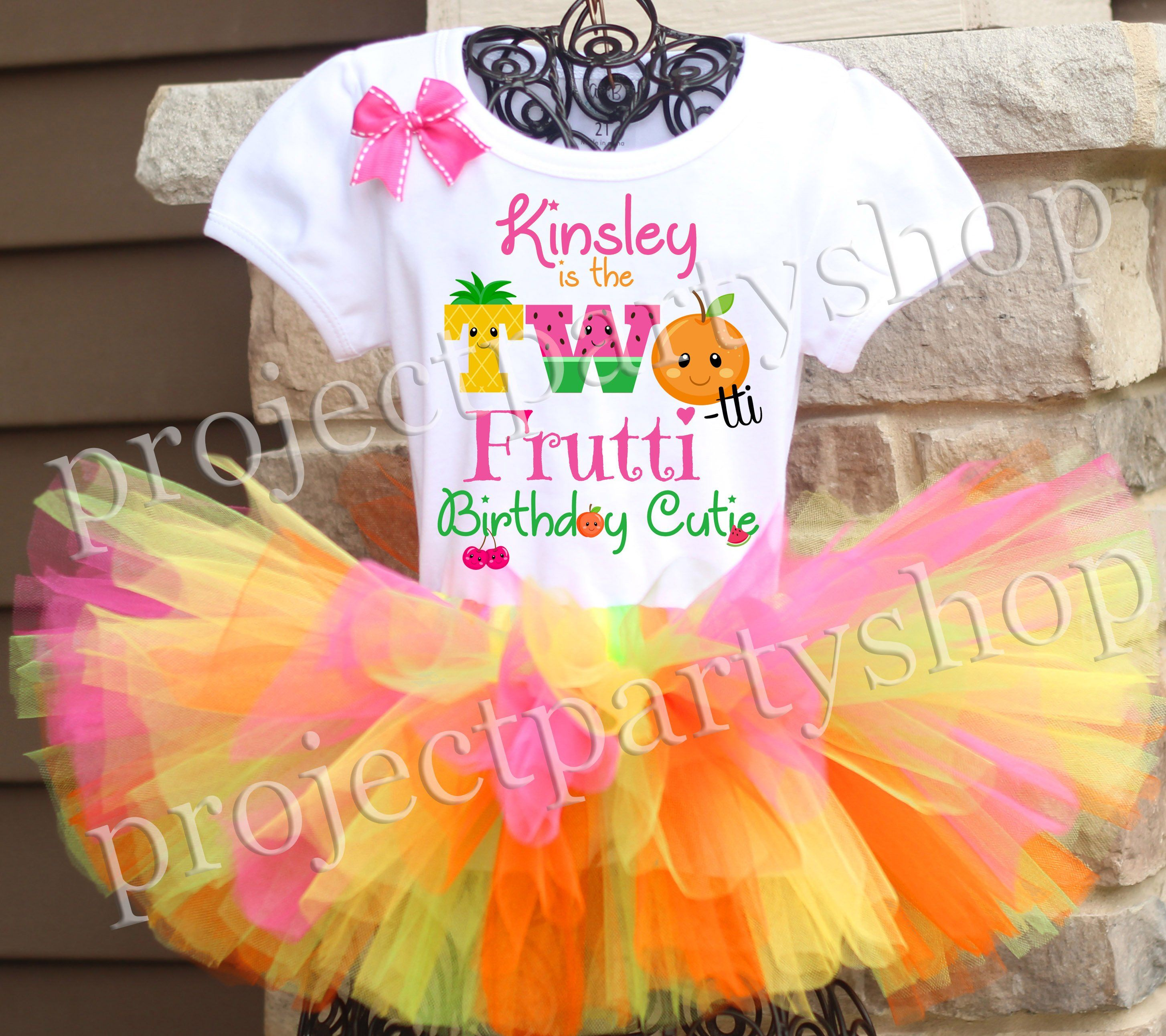 Two Year Old Girl Birthday Shirt Two-tti Fruity Birthday Shirt for Girls Fruity Birthday