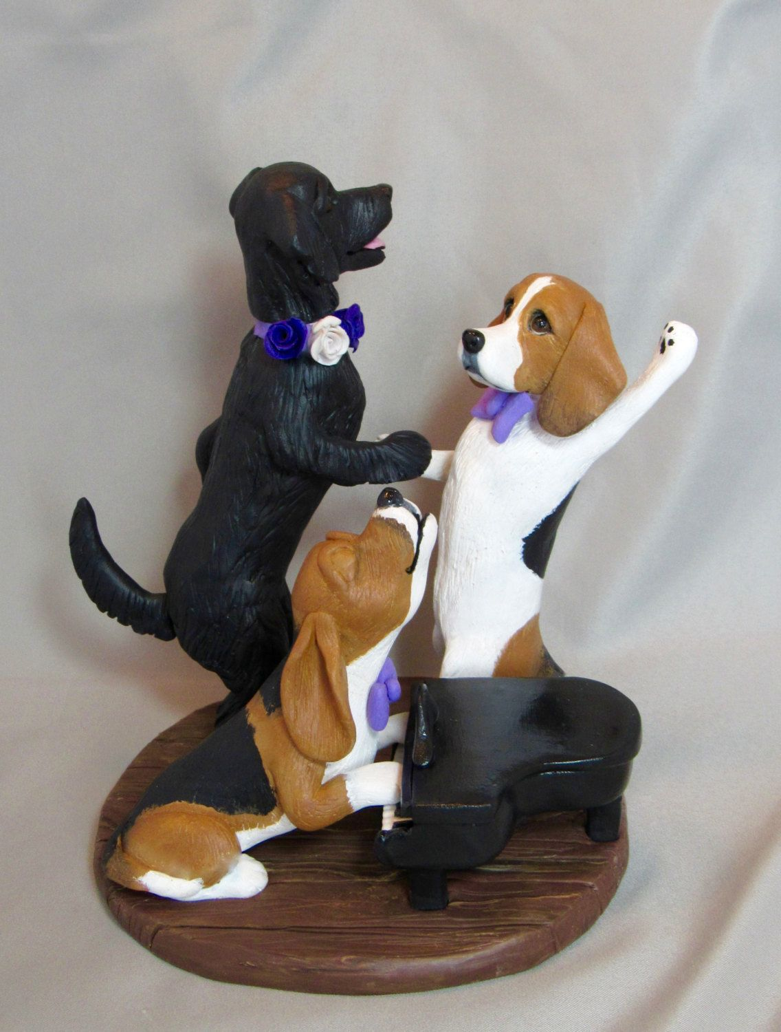 Custom made clay pet dog cat sculpture dancing dogs wedding cake