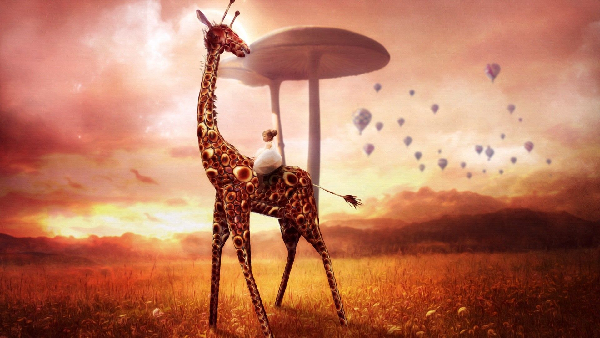 Free Giraffe Dream Phone Wallpaper By Lilmama78 Dream Art Creative Graphics Graphic Wallpaper