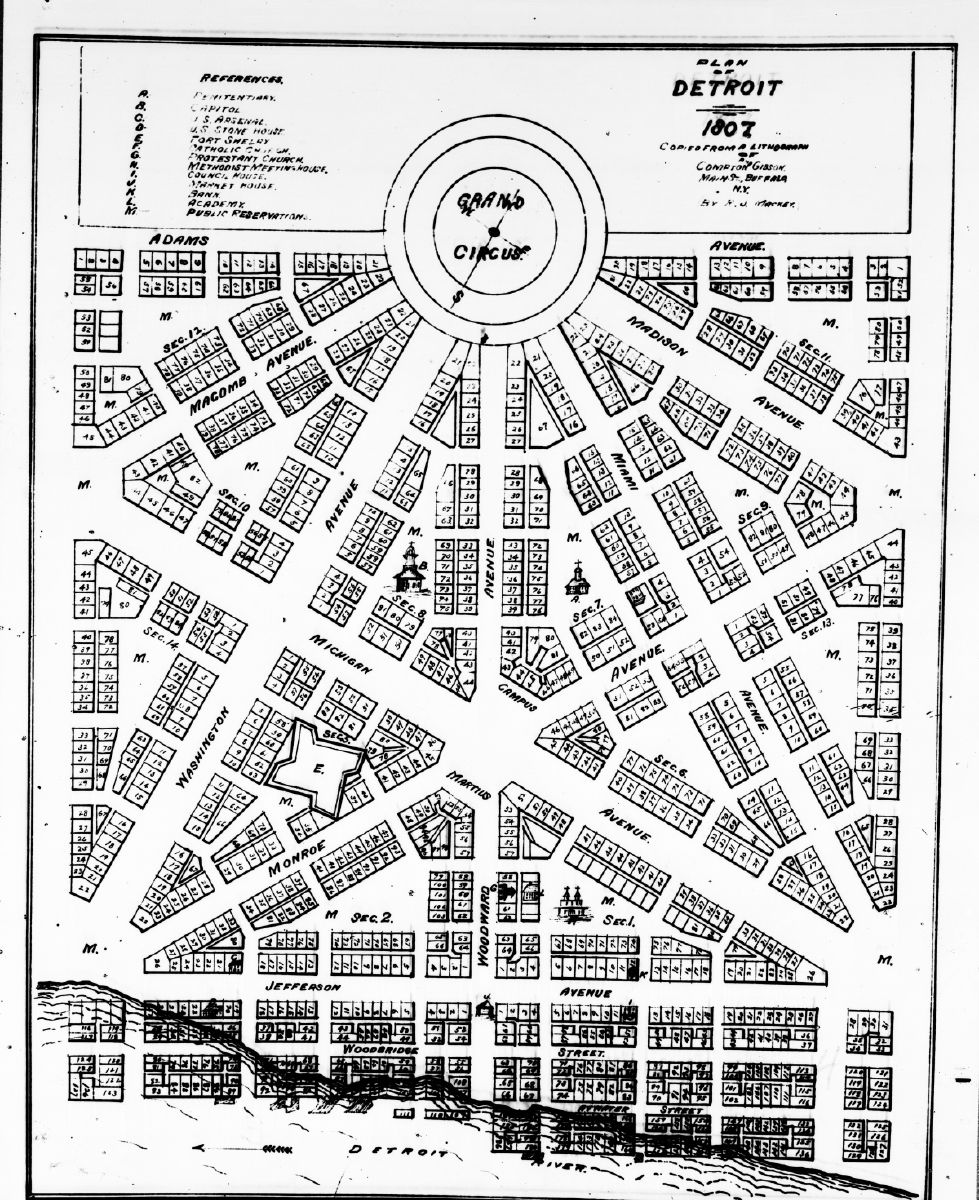 Early 20th Century Detroit street map   the \