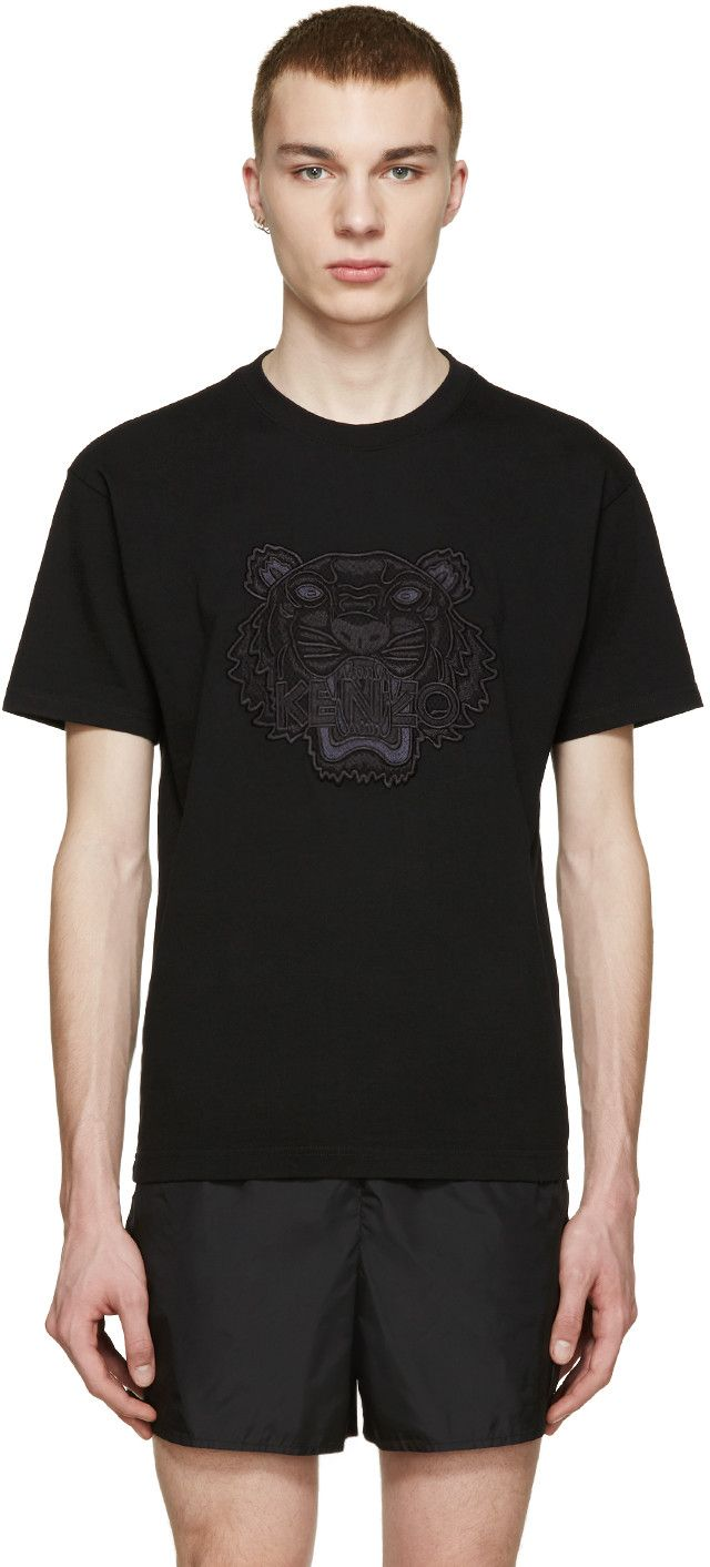 26b46d025 KENZO Black Embroidered Tiger T-Shirt. #kenzo #cloth #t-shirt ...