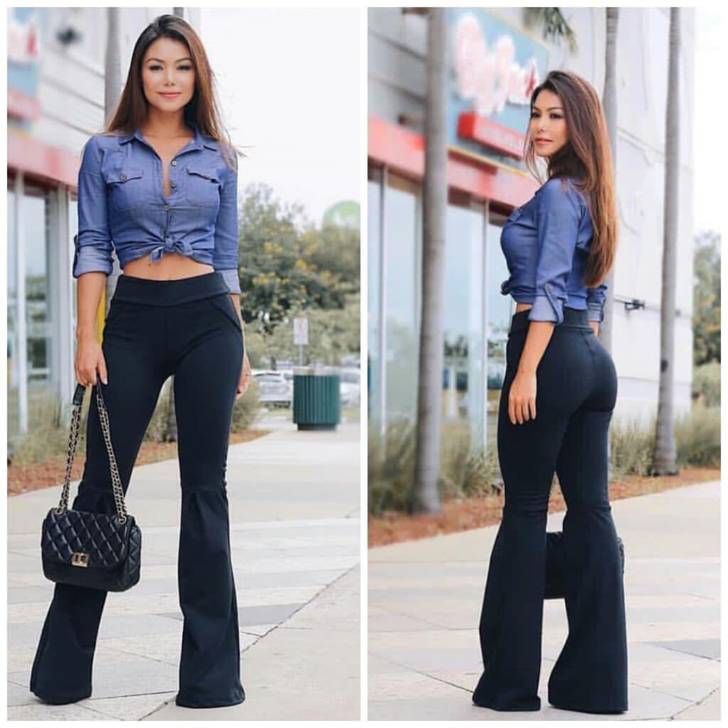 ab317de12 Calça flare/ camisa jeans/ tênis | Laura | Look calça flare, Look ...