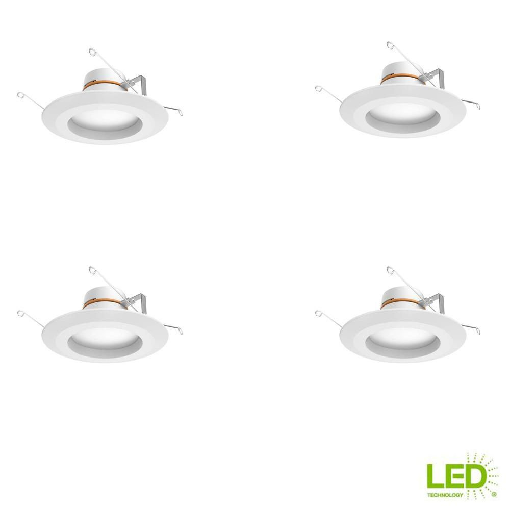 Commercial Electric 4 in Matte White Integrated LED Recessed Trim 4-Pack