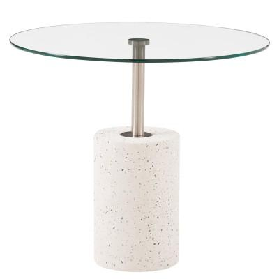 Sharon Concrete Glass Top Coffee End Table In 2020 Glass Top End Tables Glass Accent Tables Glass Table