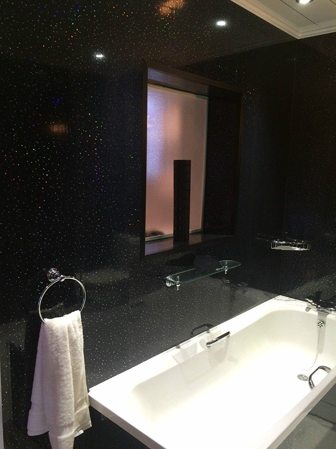 Black Sparkle 8mm PVC Wall Panels Ceiling Cladding Shower ...