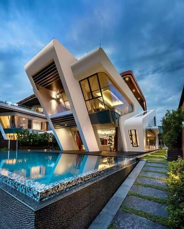 Definitely A Unique Modern Home Would Live To See What The Views Are Views Unique Home House Designs Exterior Dream House Exterior Architecture Building