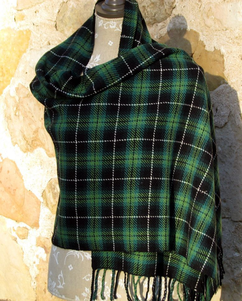 Handwoven Wool Tartan Scarf (Wrap) - Greens, Black, White, Authentic 19th Century Latvian Tartan Pattern. $150.00, via Etsy.(like handwoven Stuart tartan scarves I made)