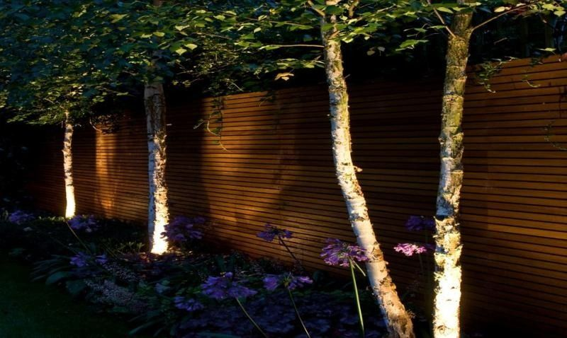 eclairage jardin led solaire éclairage extérieur solaire dans le jardin avec arbres et fleurs