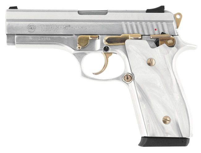 38S  38 SUPER PISTOL WITH GOLD ACCENTS AND MOTHER OF PEARL GRIPS is