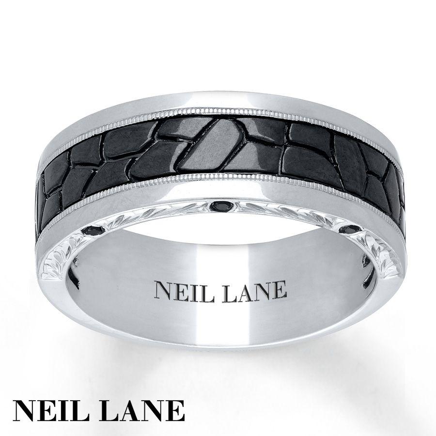 Neil Lane Men's Ring 1/20 ct tw Black Diamonds 14K White