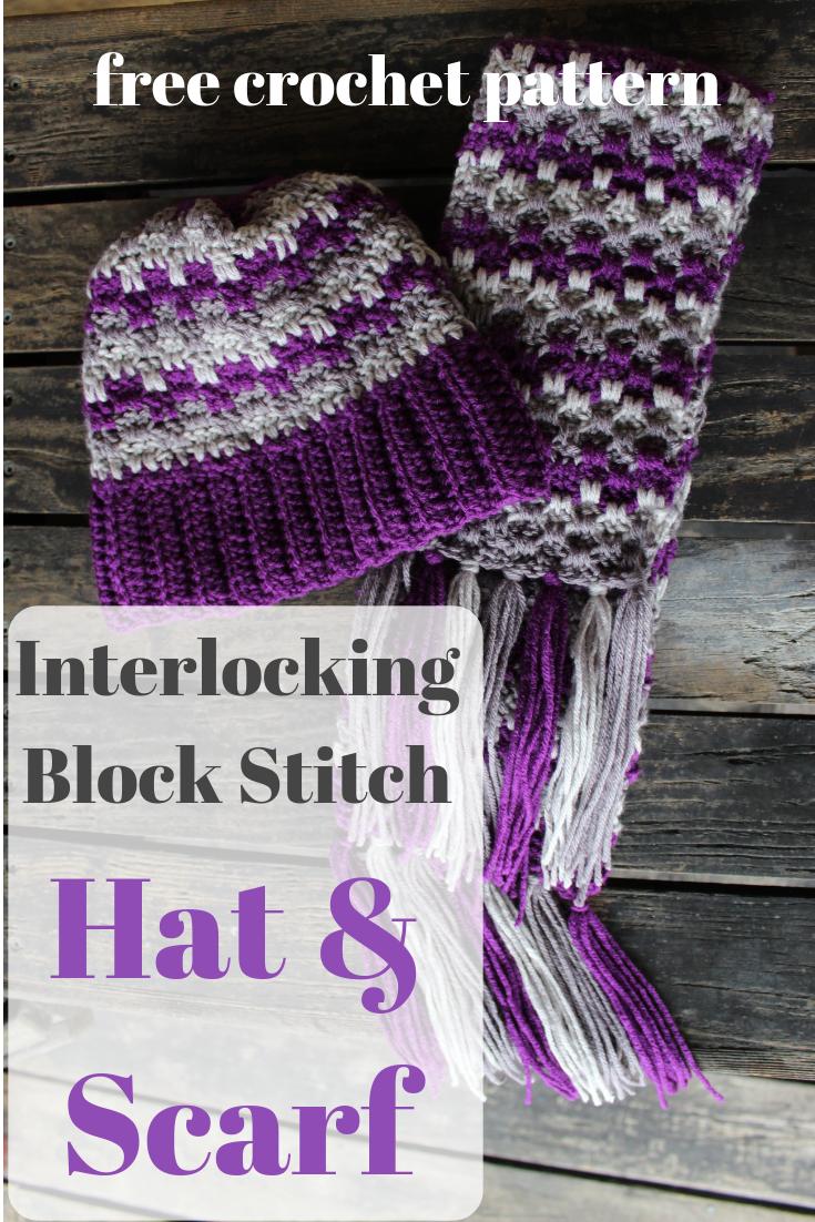 425248538b5 Free matching hat and scarf crochet pattern! Interlocking Block Stitch Hat  and Scarf - Edyth Blayn  crochetscarf  crochethat  crochetpattern ...