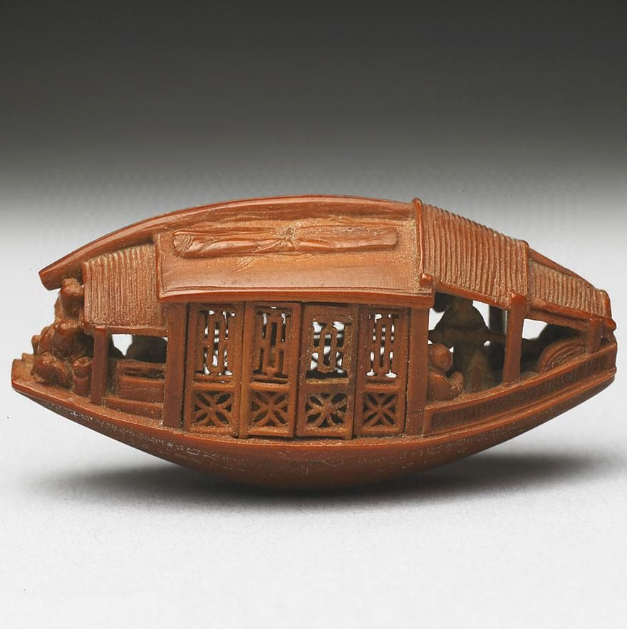 Chinese Boat Carving made out of a single olive pit