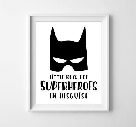 Kids Illustration Kids Poster Batman Art Boys Room Decor Boys