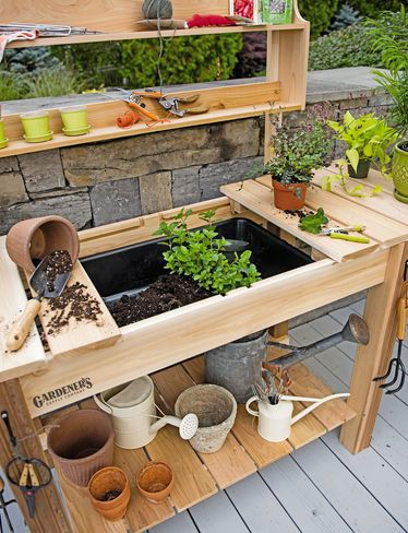 Potting Bench Cedar Potting Table With Soil Sink And Shelves Pallet Garden Benches Potting Bench Plans Potting Table