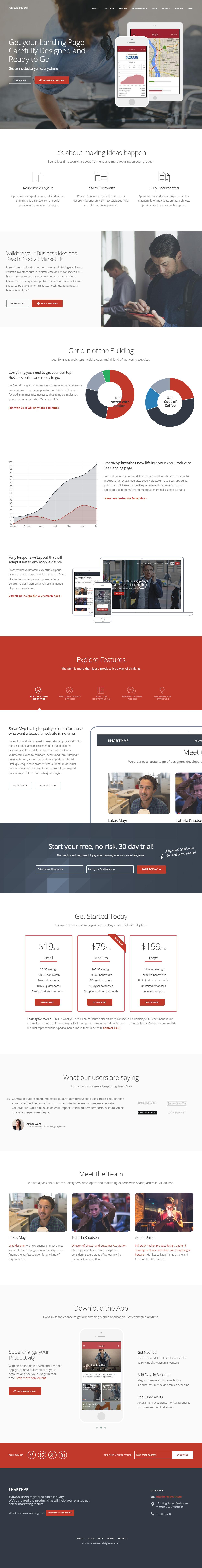 SmartMvp is Premium Responsive Retina WordPress Startup Landing Page ...