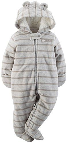 9050da492414 Amazon.com  Carters Baby Boys Hooded Fleece Bunting Grey Stripe 9M  Clothing