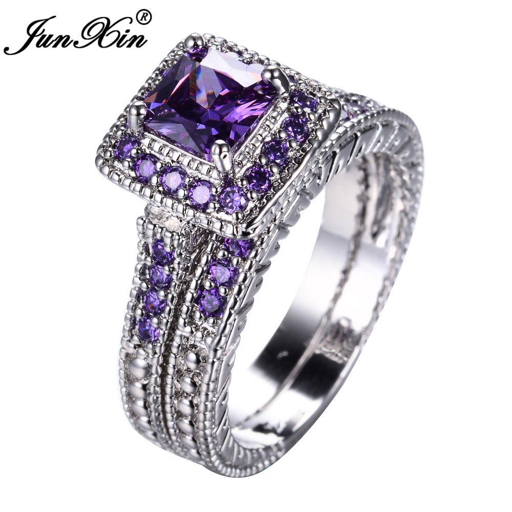 Junxin Roxo Elegante Conjunto Anel De Ouro Branco Cheio De Casamento Aneis De Noivado Par Purple Wedding Rings Amethyst Ring Engagement Purple Wedding Ring Set