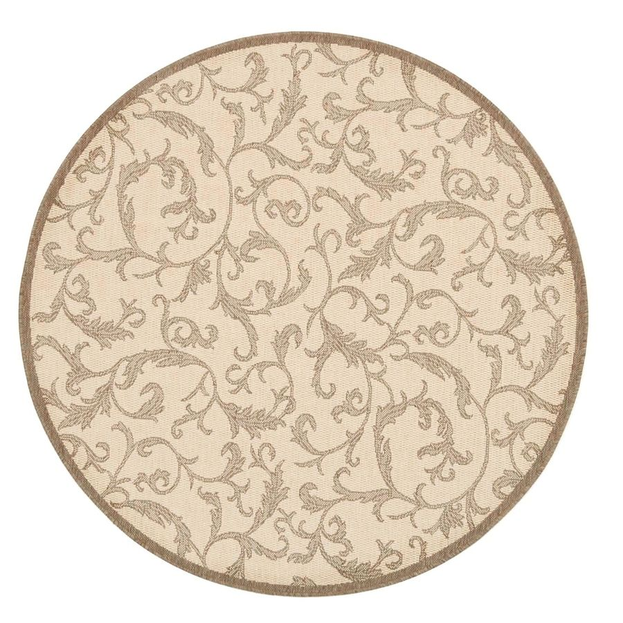 Safavieh Courtyard Vintage Vine Natural Brown Round Indoor Outdoor Coastal Area Rug Common