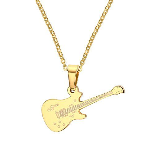 c6b648d9c9ba XIMAKA Couple s Jewelry 316l Stainless Steel Gold Silver Guitar Pendant  Chain Necklace