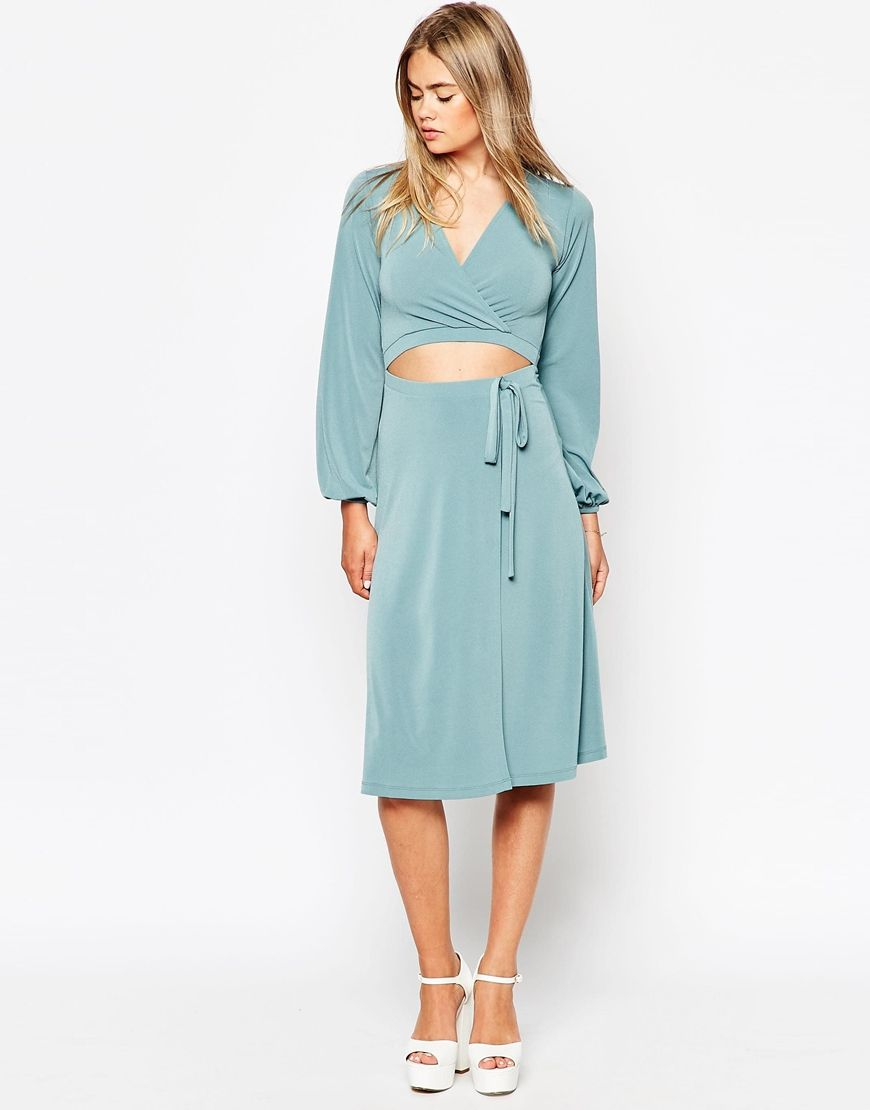 Image 1 of ASOS 70\'s Wrap Dress with Blouson Sleeves and Cut Out ...