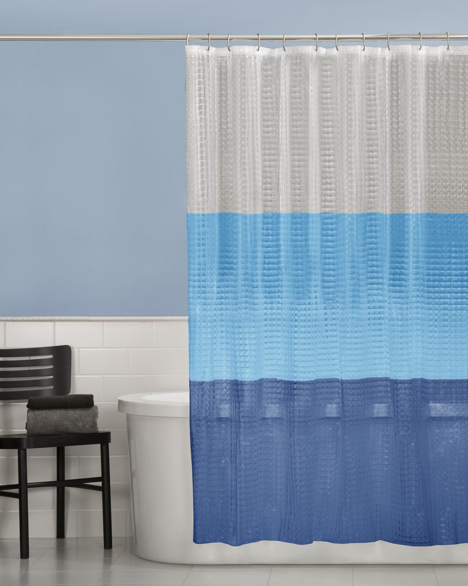 Maytex Color Block Shower Curtain