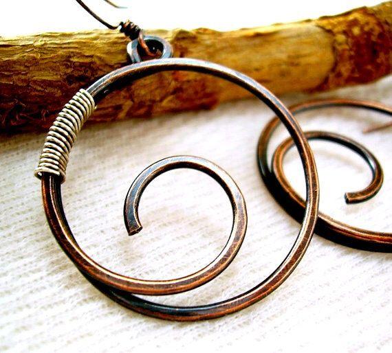 Kupfer-Schmuckdraht gewickelt Schmuck handgefertigt Draht Ohrringe ...