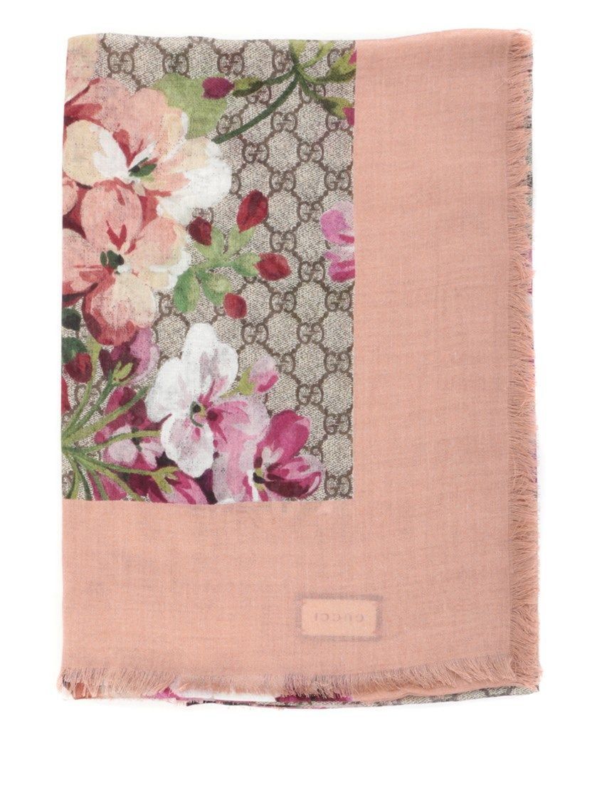 Gucci Poudre Pink Bloom Pashmina Gucci Scarves Pink
