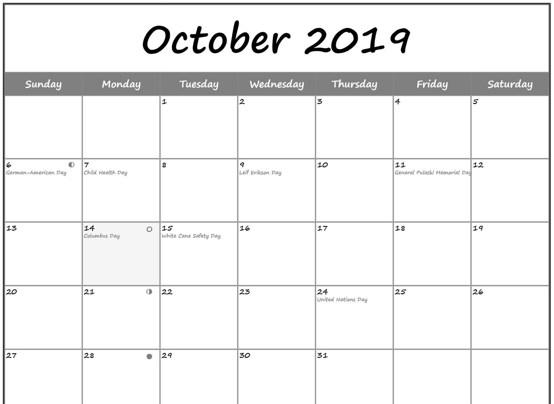 Moon Phases Calendar For October Template