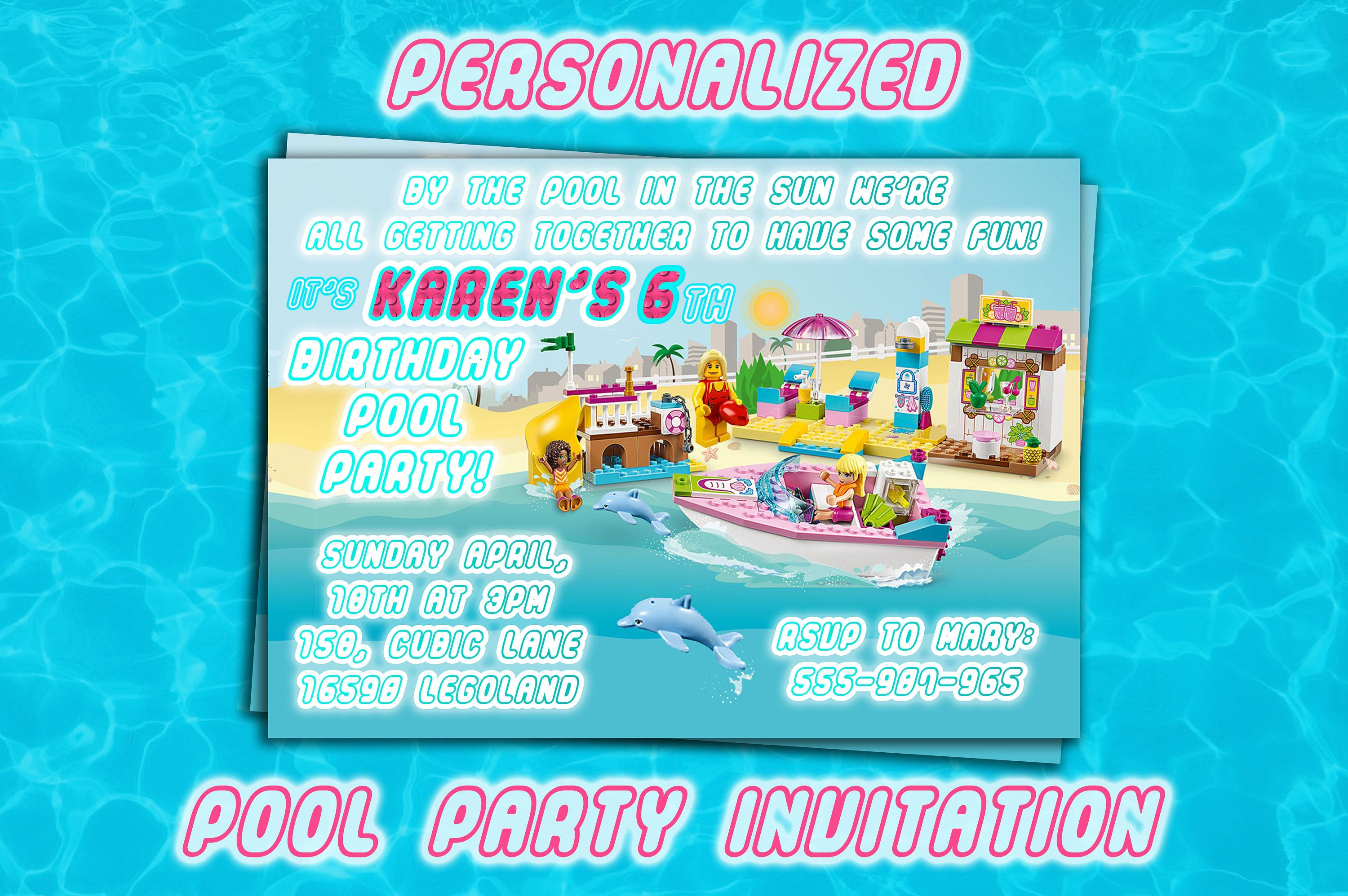 LEGO GIRL Pool party INVITES Personalized Printable invitations Lego