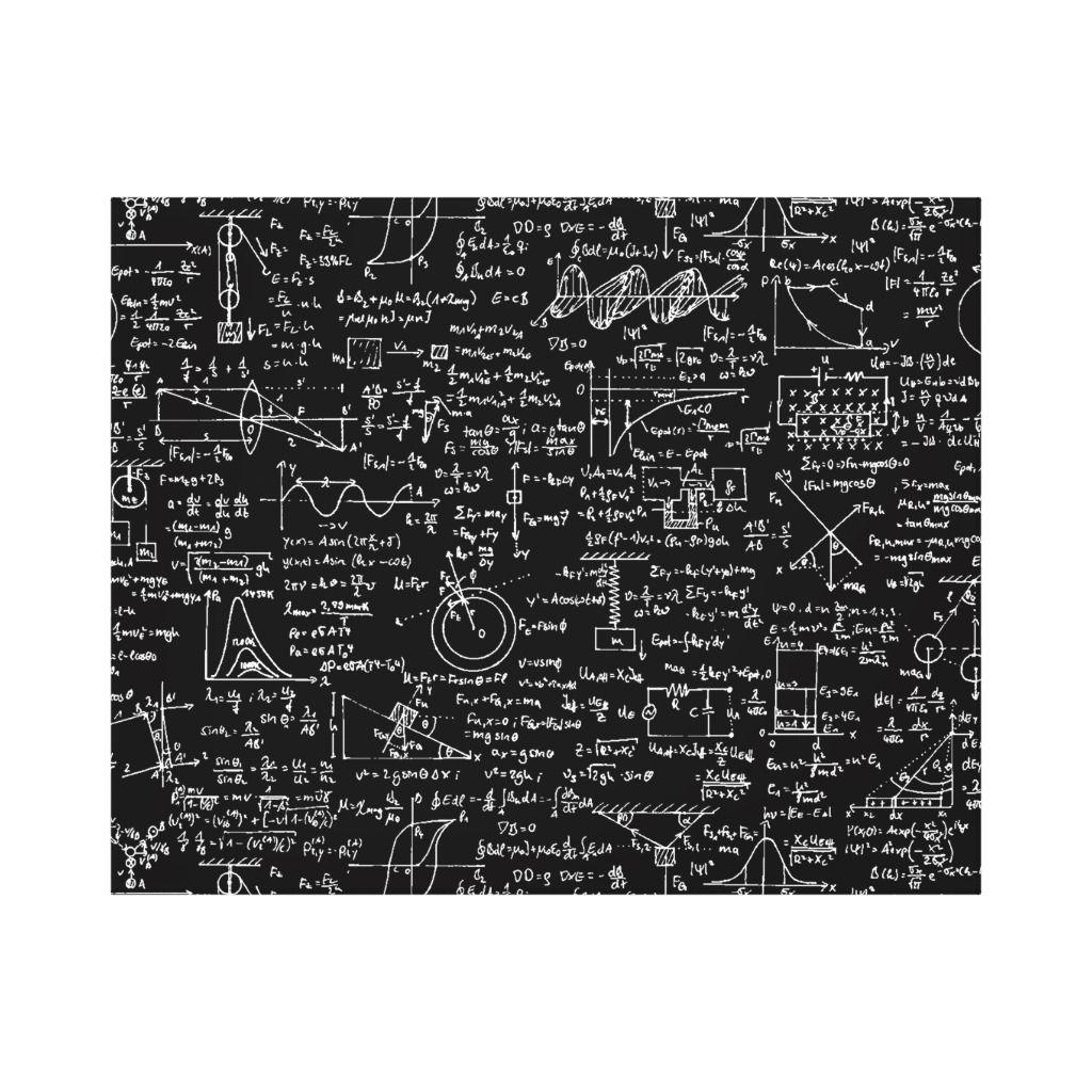 Physics Equations On Black Canvas Print
