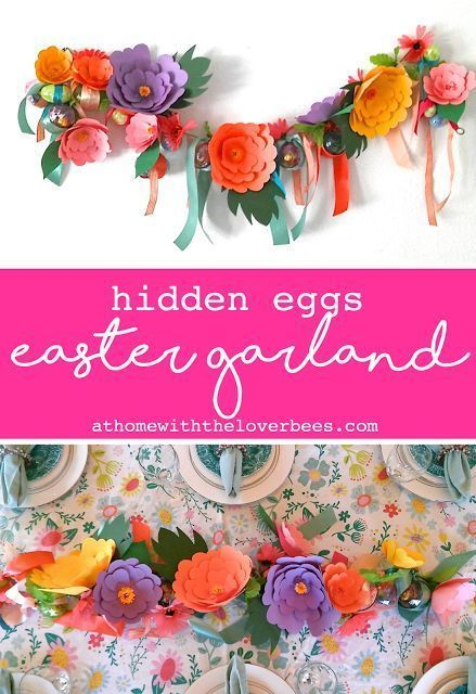 Easter Egg & Paper Flower Garland #paperflowergarlands Easter Egg & Paper Flower Easter Garland from At Home with the Loverbees. Surprise filled eggs are tied with ribbons to a pretty garland made with homemade paper flowers. #athomewiththeloverbees #easter #eastercrafts #eastereggs #easterdecoration #garland #eastergarland #paperflowers #paperflowercenterpieces Easter Egg & Paper Flower Garland #paperflowergarlands Easter Egg & Paper Flower Easter Garland from At Home with the Loverbees. Surpri #paperflowercenterpieces