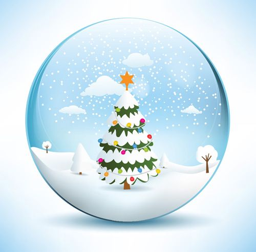 Christmas crystal ball with winter vector art media