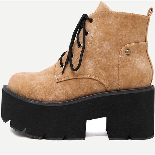 d81460c59d Brown Faux Leather Round Toe Lace Up Platform Boots (12.905 HUF) ❤ liked on Polyvore  featuring shoes, boots, brown, chunky platform boots, brown lace up ...