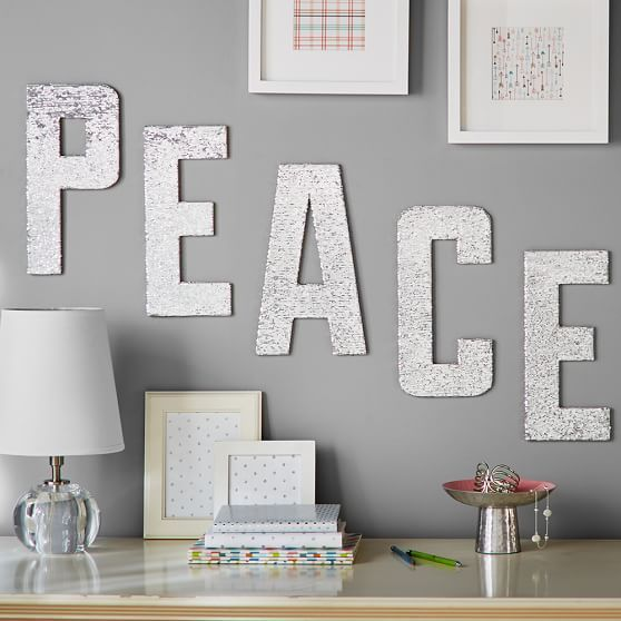 Peace Sequin Letters | PBteen | Wall Decor/Memo Boards | Pinterest ...