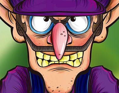 Waluigi Ilustración Digital De Un Personaje Clásico De Nintendo El Villano Waluigi Waluigi Mario Malo Luigi Anime Purple Guy Cartoon Characters