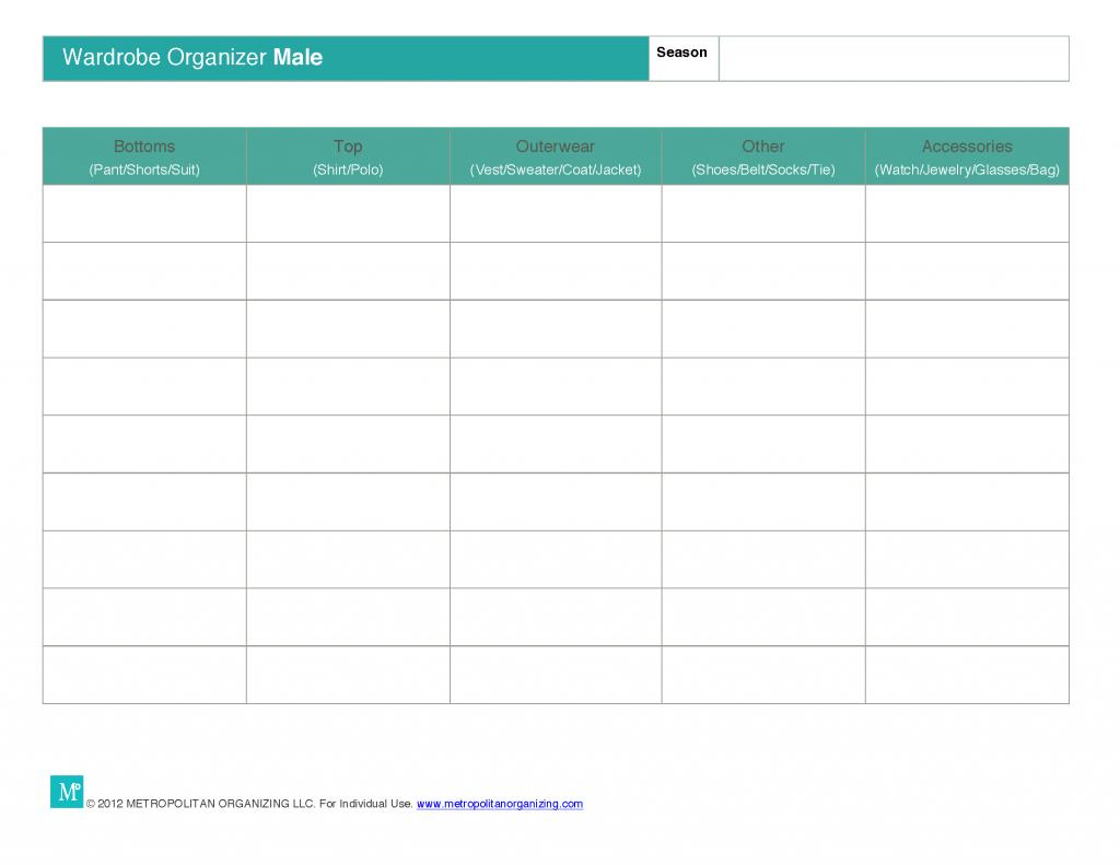 Capsule Wardrobe Planning Worksheets Essential Wardrobe
