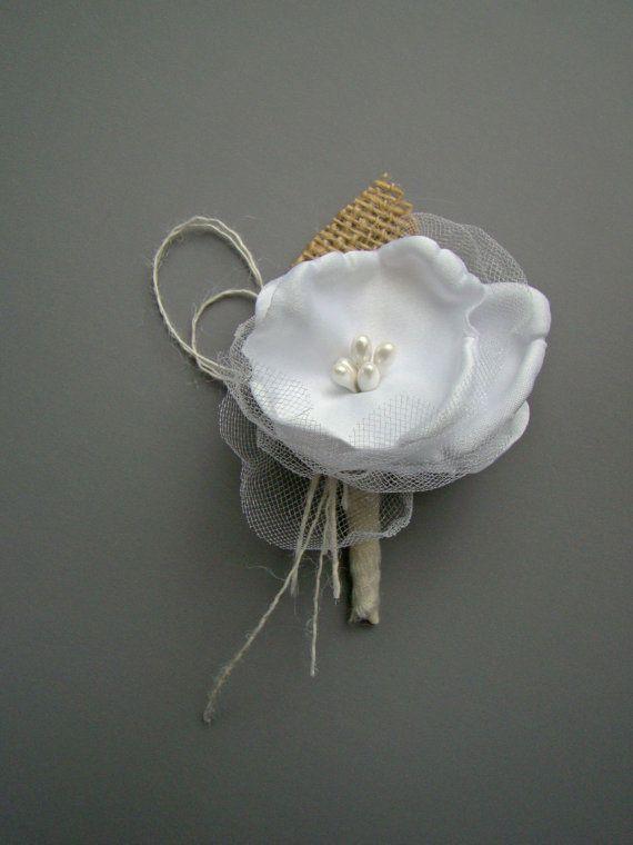 Rustic Wedding Boutonniere, Burlap Wedding, Mens Wedding Boutonnieres, Groom, Groomsmen, White, Pearl, Neutral, Handmade Flower Winter White on Etsy, $13.00