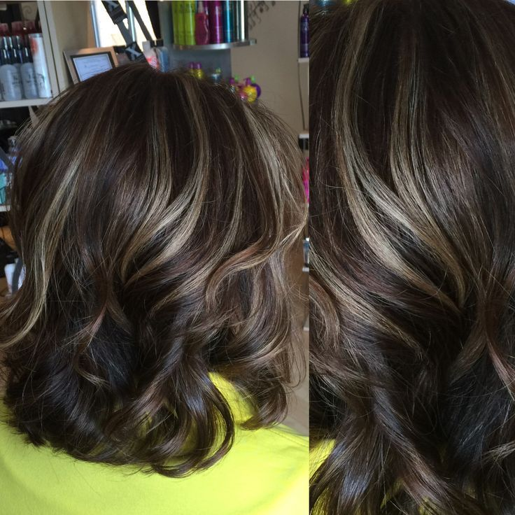 Medium Brown Hair Color With Light Beige Highlights On The Cool