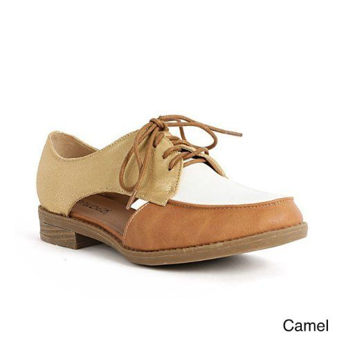 BUMPER VENICE06X Women's Round Toe Lace up Oxfords With Cut Out On Both Sides, Color:CAMEL
