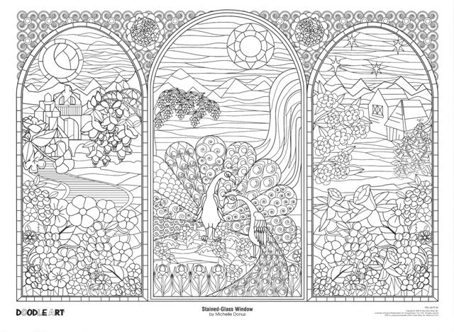 Stained Glass Window Doodle Art Coloring Poster Photo by ...