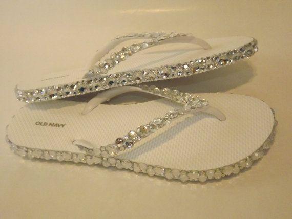 Rhinestone Bling Flip Flops Bridal Wedding by EVRhinestones