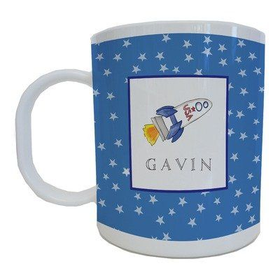 Kids Tabletop Mug Design: Blast Off   - Click image twice for more info - See a larger selection of baby solid feeding at http://zbabybaby.com/category/baby-categories/baby-feeding/baby-solid-feeding/  - gift ideas, baby , baby shower gift ideas, toddler  « zBabyBaby.com