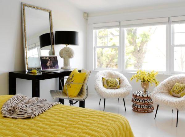 Moderne schwarze Lampen Schirme in Interior Design gelb weiß