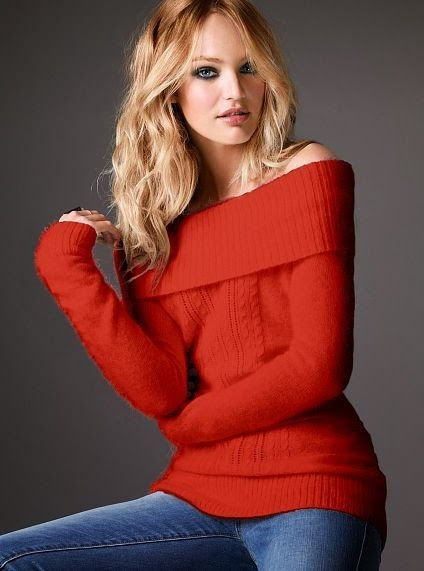 Red Off Shoulder Sweater With Blue Jeans | Fashion that I like ...