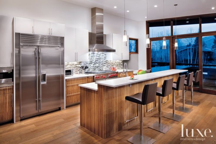 Modern Kitchen With Zebrawood Cabinetry Interior Design Kitchen Modern Kitchen Red And White Kitchen Cabinets