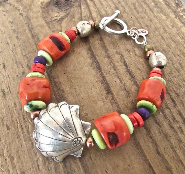 Hill Tribe Silver Seashell and  Coral Bracelet